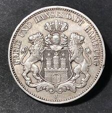 Silbermünze Hansestadt Hamburg , 3 Mark 1909, J.64