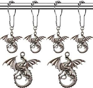 Molika Dragon Shower Curtain Hooks Rings - Antique Silver Metal Curtain Hangers