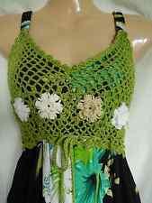 Vintage años 60 años 70 Crochet Hippie Boho Vestido Floral Algodón Festival 8 36 US 4