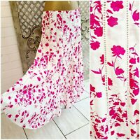 PER UNA M&S UK 14 White & Pink Floral Print Cotton Flared Midi Skirt Summer