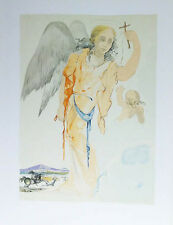 SALVADOR DALI- GUARDIAN ANGEL AND CROSS-UNSIGNED LITHOGRAPH -1984 -WOVE