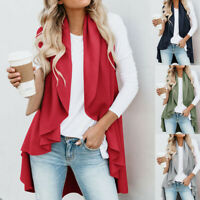 Women Sleeveless Open Front Cardigan Shawl Collar Draped Top Long Vest Blouse US