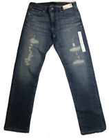 UNIQLO Slim Fit Straight Distressed Blue Jeans Men's Size 33 x 32 New with Tag
