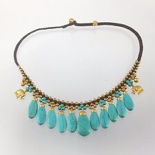 WOMEN FASHION NECKLACE JEWELRY MACRAME CORD TURQUOISE PENDANT BRASS BELL HIPPY