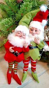 """Set 2 NWT 10"""" RAZ Santa ELF Red Green White Elves CHRISTMAS Display Prop Decor"""