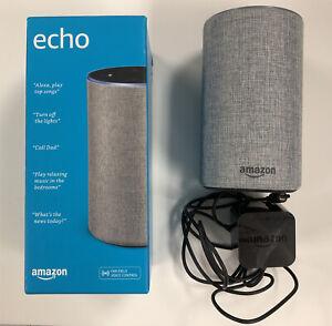 New Amazon Echo (2nd Generation) Smart Speaker with Alexa - Heather Gray Fabric