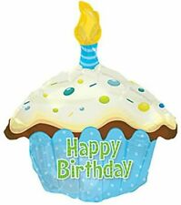 Happy Birthday Blue Cupcake Shaped Foil Balloon