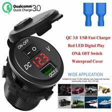 Cargador rápido USB QC3.0 12V/24V toma de corriente con interruptor de on&off para Coche Camión Embarcación
