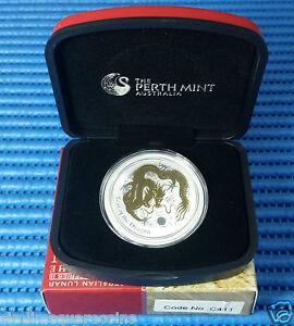 2012 Australia $1 Lunar Year of the Dragon 1 oz Silver Glided Coin