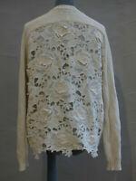 Twin Set Simona Barbieri Off white Cardigan Guipure Floral Lace Back size XL
