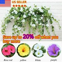 Artificial Fake Silk Hanging Plants Basket Morning Glory Flowers Vine Home Decor