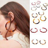 New Tortoiseshell Hoop Tortoise Design Acrylic Earrings Faux Jewellery Resin UK