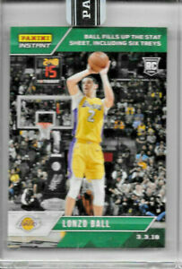 2017-18 PANINI INSTANT LONZO BALL ROOKIE GREEN #104 PARALLEL 9/10 FILLS UP STAT