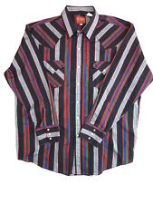 Mens Black Red Striped PLAINS Resin Snap Button Down Western Shirt XL