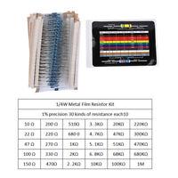 1/4W 1% 600Pcs Metal Film Resistor Kit 10Ω-1M 30 Values Assorted Resistors 20PCS