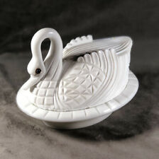 Antique Challinor, Taylor & Co. Block Swan Milk Glass Covered Dish