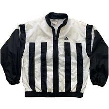 VTG Adidas Mens XL - Black White Stripe Windbreaker - Vented Rain Track Jacket