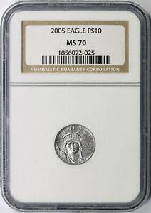 2005 $10 Platinum Statue of Liberty NGC MS70