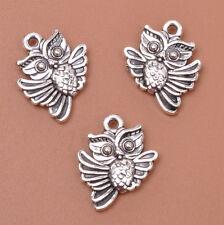 20pcs Tibetan Silver Double Sided Charm Owl Pendants 18X15MM F3048
