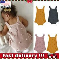 US Newborn Baby Girl Winter Knit Sweater Romper Jumpsuit Bodysuit Clothes Outfit