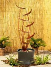 """Rustic Modern Outdoor Floor Water Fountain 41"""" Cascading Leaves for Yard Garden"""