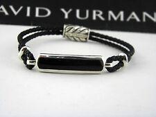 David Yurman Exotic Stone Bar Station Bracelet in Black Leather with Black Onyx
