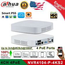Dahua 4K 4CH 4 POE NVR4104-P-4KS2 8MP H.265 Up 6TB CCTV Network Video Recorder