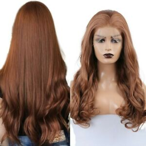 24inch Synthetic hair Glueless Lace front wigs Long Curly Wavy Daily use Brown
