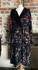 Ted Baker Long Dressing Gown Black Floral Print Bird bathrobe nightwear Sz 12-14