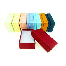 "100  Assorted Pastel Color Cotton Filled Jewelry Boxes 2 1/2"" X 1 1/2"" X 1"""