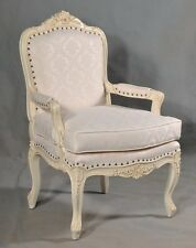 Mahogany Bergere Ornate Antique White Shabby Chic Ornate French Arm Chair Throne