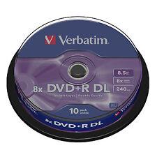 VERBATIM DVD+R DL Dual Capa Discos en Blanco 10 Soporte 8.5GB 8x velocidad -