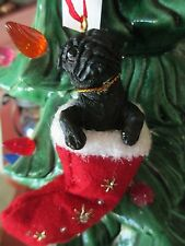 PUG BLACK  ~ CHRISTMAS STOCKING  ORNAMENT   #32