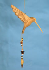 Hummingbird hand carved wood window, ceiling ornament, garden mobile