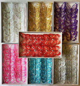 Box of 12, 8cm Clip-On Jewelled & Glitter Butterflies 14 different colours.
