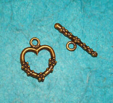 Jewelry Making Supplies Toggle Closure Bracelet Clasp Bronze Heart Charm Crafts