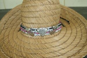 HEART HATBAND with Pop Tops, Faux Silver Heart Conchos and Leather