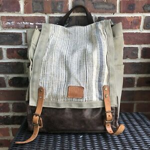 Will Leather Goods Canvas Backpack Bag Leather Straps Striped