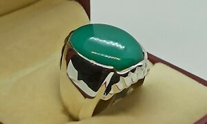 Rare Hussani Feroza Mens Ring Sterling Silver 925 Handmade Green Turquoise Ring