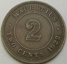 MAURITIUS 2 Cents 1922 - Bronze - VF - 3564 ¤
