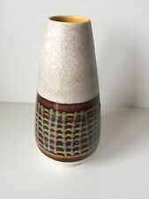Fat Lava West German Pottery Striped Checked Green White Bud Vase