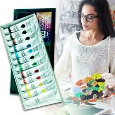 12 Colors 12ml ACRYLIC PAINT Set Professional Artist Pigment Painting Tubes D7R3