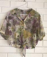 Vintage Target Blouse shirt FLORAL size 12 Crop Top Womens Sheer 90s