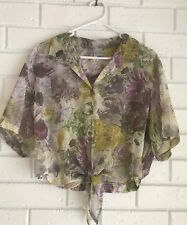 Vintage Target Blouse shirt FLORAL size 12 Crop Top Womens Sheer 90s