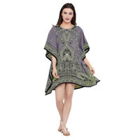 Printed Paisley Women Tunic Top Kaftan Long Sleeve Casual Mini Boho Dress Caftan