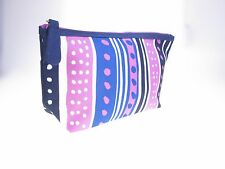 ESTEE LAUDER  Lilac Navy Stripes/Spots Cosmetic Make up Bag Case Travel Toiletry