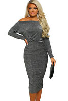 Women Metallic Glitter Long Sleeve Off Shoulder Bodycon Ruched Shiny Midi Dress