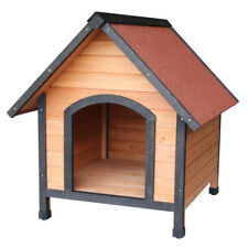Weatherproof Pitched Roof Cabin Porch Dog Kennel Pet Shelter Log Wood Home House