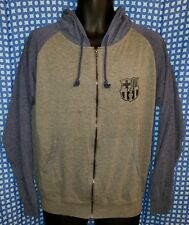 FC Barcelona Gray & Blue Zip-Up Hoodie Sweatshirt - Youth M / Womens S/M