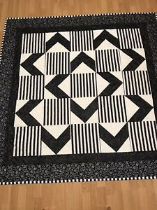 Contemporary Black & White Striped Throw Quilt
